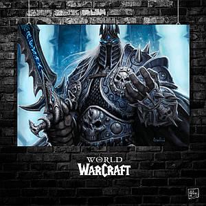 Постер Варкрафт, World of Warcraft, Король-Лич. Размер 60x42см (A2). Глянцевая бумага