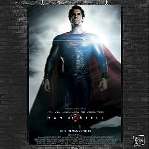 Постер Человек из стали, Супермэн, SuperMan, Man of Steel. Размер 60x42см (A2). Глянцевая бумага