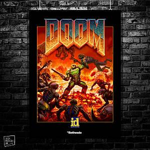 Постер Doom. классический постер. переработанное изображение. Размер 60x42см (A2). Глянцевая бумага
