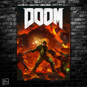Постер Doom. Размер 60x42см (A2). Глянцевая бумага