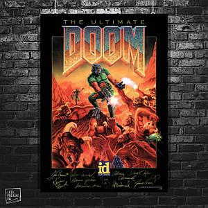 Постер Ultimate Doom, постер с подписями разработчиков. Размер 60x43см (A2). Глянцевая бумага