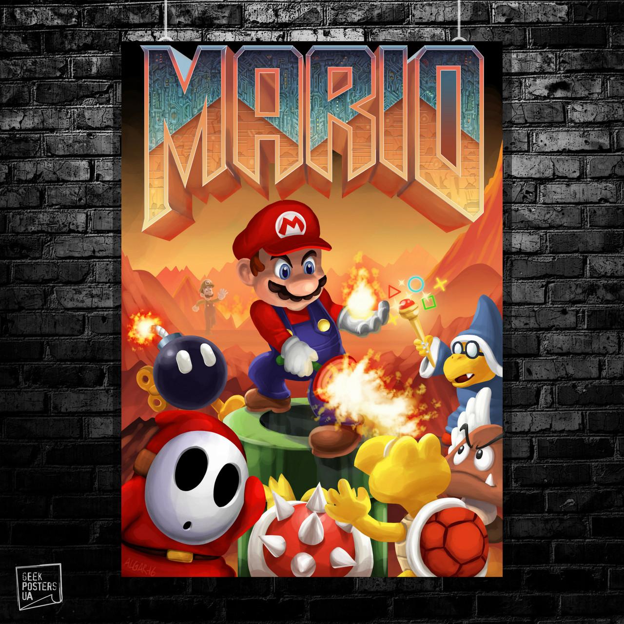 Постер Doom+SuperMario. Размер 60x43см (A2). Глянцевая бумага