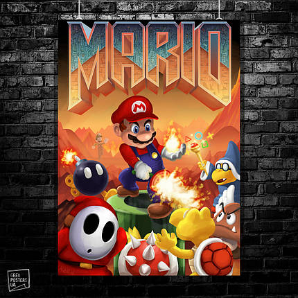 Постер Doom+SuperMario. Размер 60x43см (A2). Глянцевая бумага, фото 2