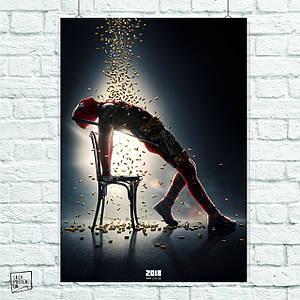 Постер Deadpool, Дэдпул, Дедпул, падающие пули. Размер 60x42см (A2). Глянцевая бумага