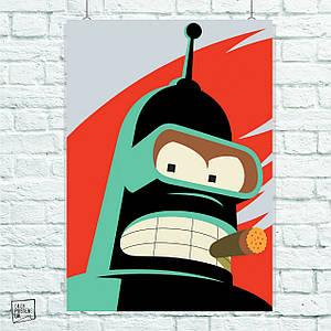 Постер Футурама, Futurama, Бэндер, Бендер. Размер 60x42см (A2). Глянцевая бумага