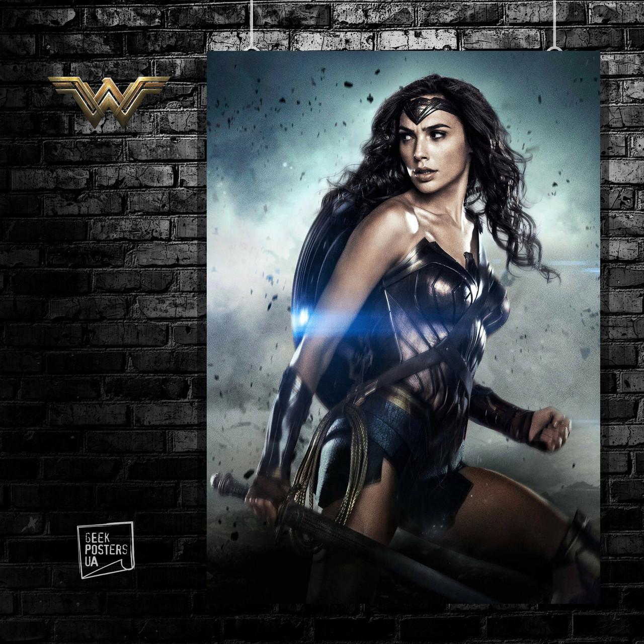 Постер Wonder Woman, Чудо-женщина. Размер 60x42см (A2). Глянцевая бумага