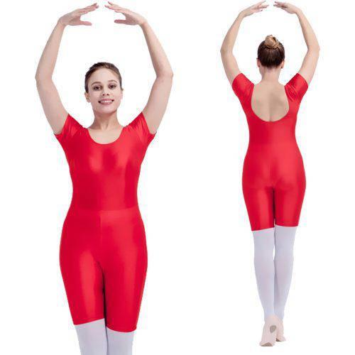 Купальник гимнастический (трико) красный с короткими шортами для танцев  эластан микродайвинг 564c99d6765