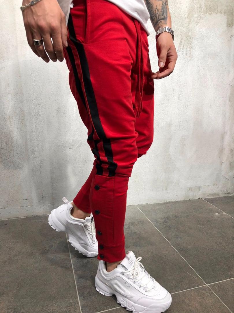 5811646f Мужские спортивные штаны на пуговицах красные - Интернет-магазин обуви и одежды  KedON в Киеве