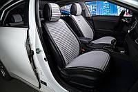 НАКИДКИ НА СИДЕНИЯ  Audi A6 (C6) 2004-2011 ВЕЛЮР С ЭКОКОЖЕЙ - PREMIUM - СВЕТЛО - СЕРЫЕ