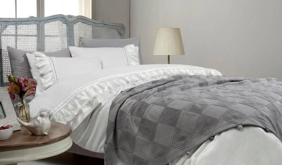 Постельное белье с покрывалом Gelin Home  BUSRA двуспальный - евро, персиковый