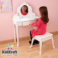 Білий туалетний столик з дзеркалом і стілець Kidkraft, фото 1