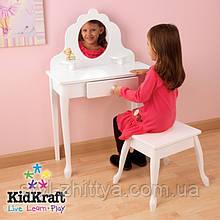 Білий туалетний столик з дзеркалом і стілець Kidkraft