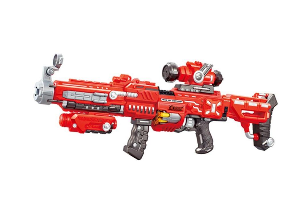 Детский автомат бластер SUNROZ FJ552 с мягкими снарядами со звуковыми и световыми эффектами Красный (SUN1692)