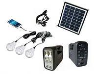 Портативный аккумулятор для туризма GDLITE GD-8017 (солнечная батарея, 3 светодиодные лампы, аккумулятор)
