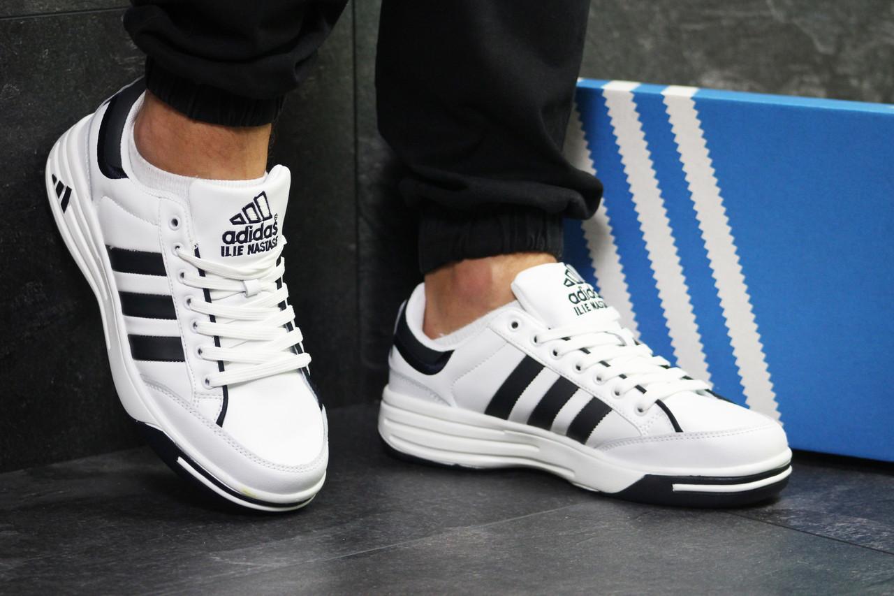 Мужские кроссовки Adidas ilie nastase,белые с черным 44
