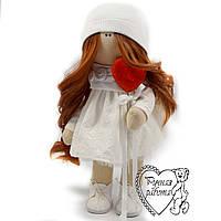 Кукла ручной работы, тильда, текстильная, рыжая, Ангел, средняя