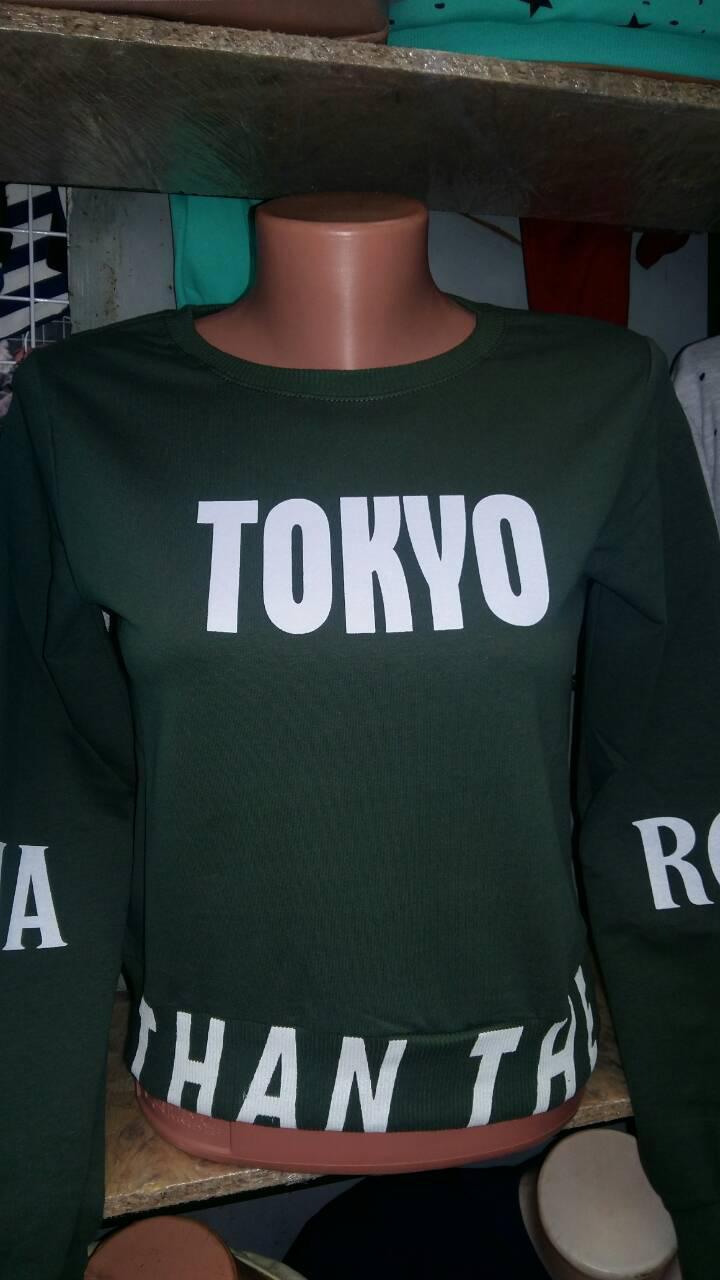 Молодежная кофточка с надписью tokio, наличие цвета уточняйте, 44