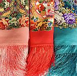 Кружевной 951-3, павлопосадский платок (шаль, крепдешин) шелковый с шелковой бахромой, фото 10