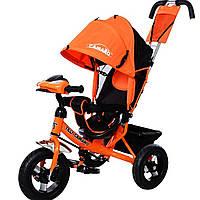 Детский трехколесный велосипед музыка свет TILLY Camaro T-362 надувные колеса оранжевый