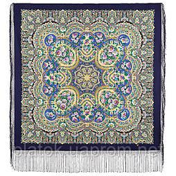Идиллия 1788-14, павлопосадский платок (шаль) из уплотненной шерсти с шелковой вязанной бахромой