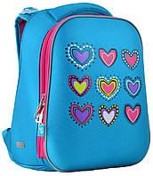 Рюкзак каркасный H-12-1 Hearts turquoise, 38*29*15,