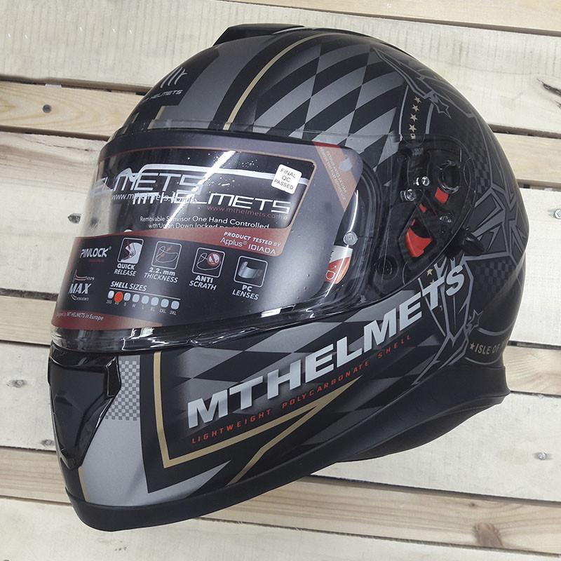 812184404 Мотошлем MT Thunder 3 Isle of Man Matt Black Gold: купить в Украине ...