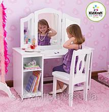 Білий туалетний столик-трюмо з кріслом Kidkraft