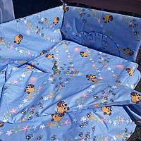"""Постельный набор в детскую кроватку (8 предметов) Premium """"Винни Пух"""" голубой, фото 1"""