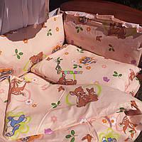 """Постельный набор в детскую кроватку (8 предметов) Premium """"Бэмби"""" персиковый, фото 1"""