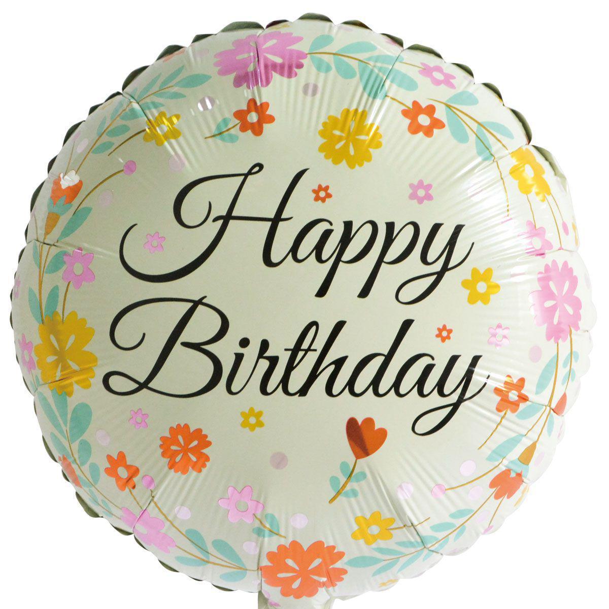 """Фольгированный шар с надписью """"Happy birthday"""" цветочки"""