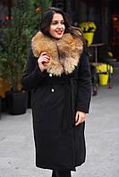Пальто кашемировое воротник натуральный мех енота батал, фото 1