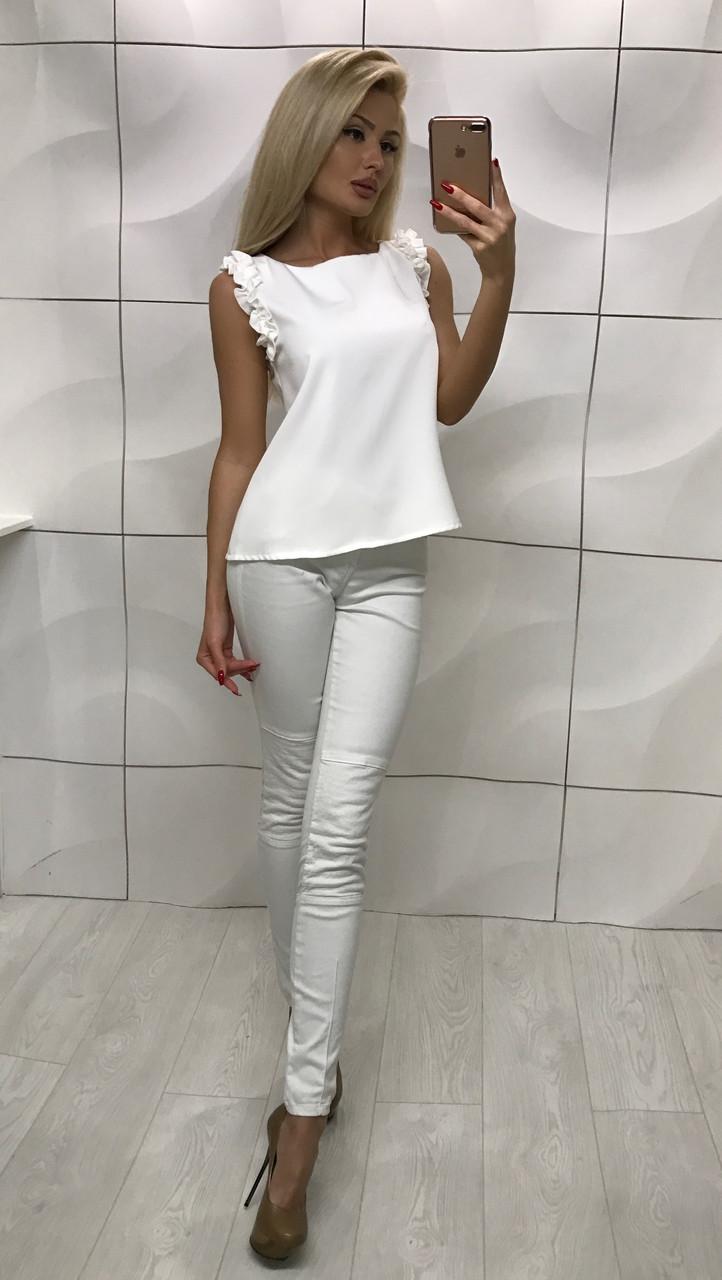 Женская блузка без рукавов с оборками ft-1007 белая