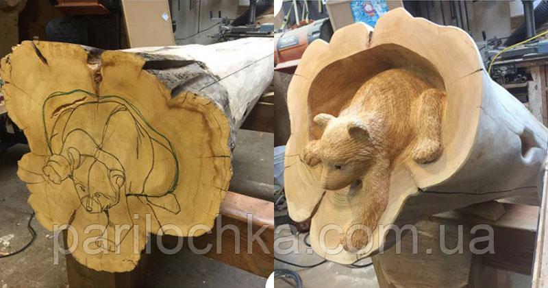 Декоративный мишка из дерева