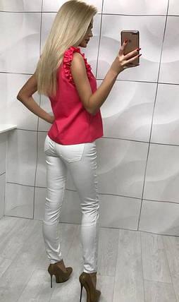 Женская блузка без рукавов с оборками ft-1007 коралловая (S, M), фото 2
