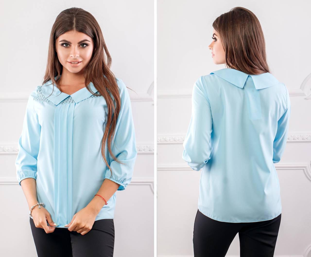 Блуза женская с воротником и кружевом, модель 124, цвет - голубой