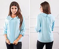 Блуза женская с воротником и кружевом, модель 124, цвет - голубой, фото 1
