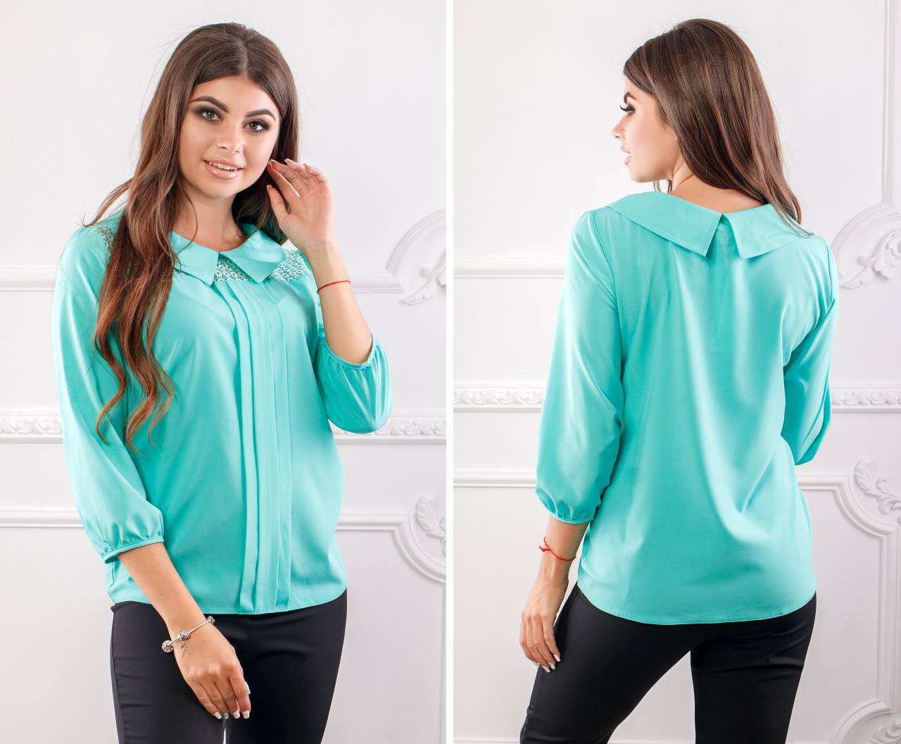 Блуза жіноча з коміром і мереживом, модель 124, колір - бірюза
