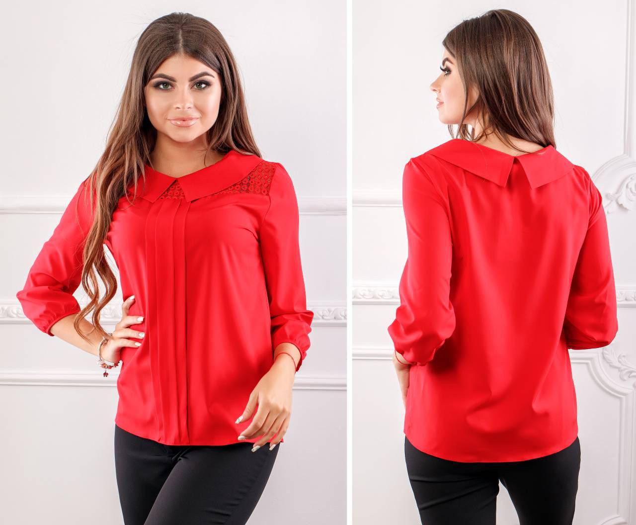 Блуза женская с воротником и кружевом, модель 124, цвет - красный