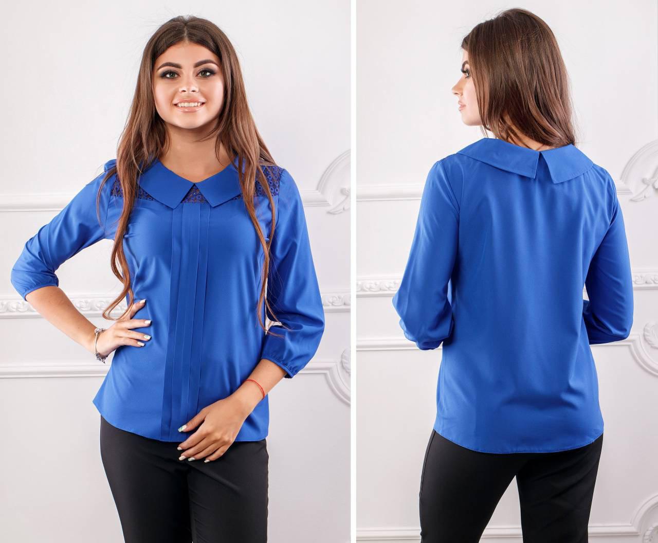 Блуза женская с воротником и кружевом, модель 124, цвет - электрик
