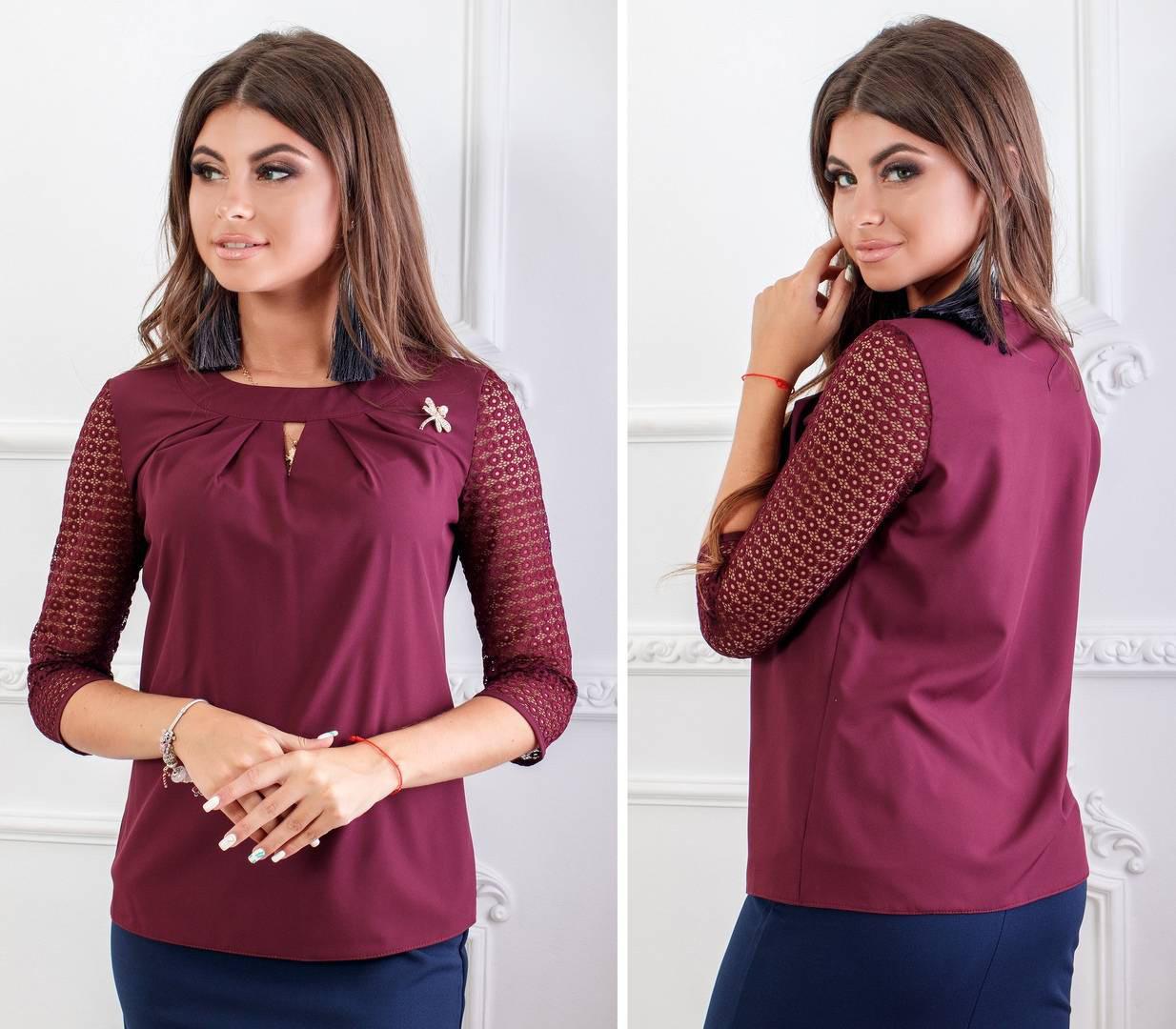 Блуза с кружевными рукавам и брошкой, бенгалин, новинка 2018, модель 122, цвет - слива