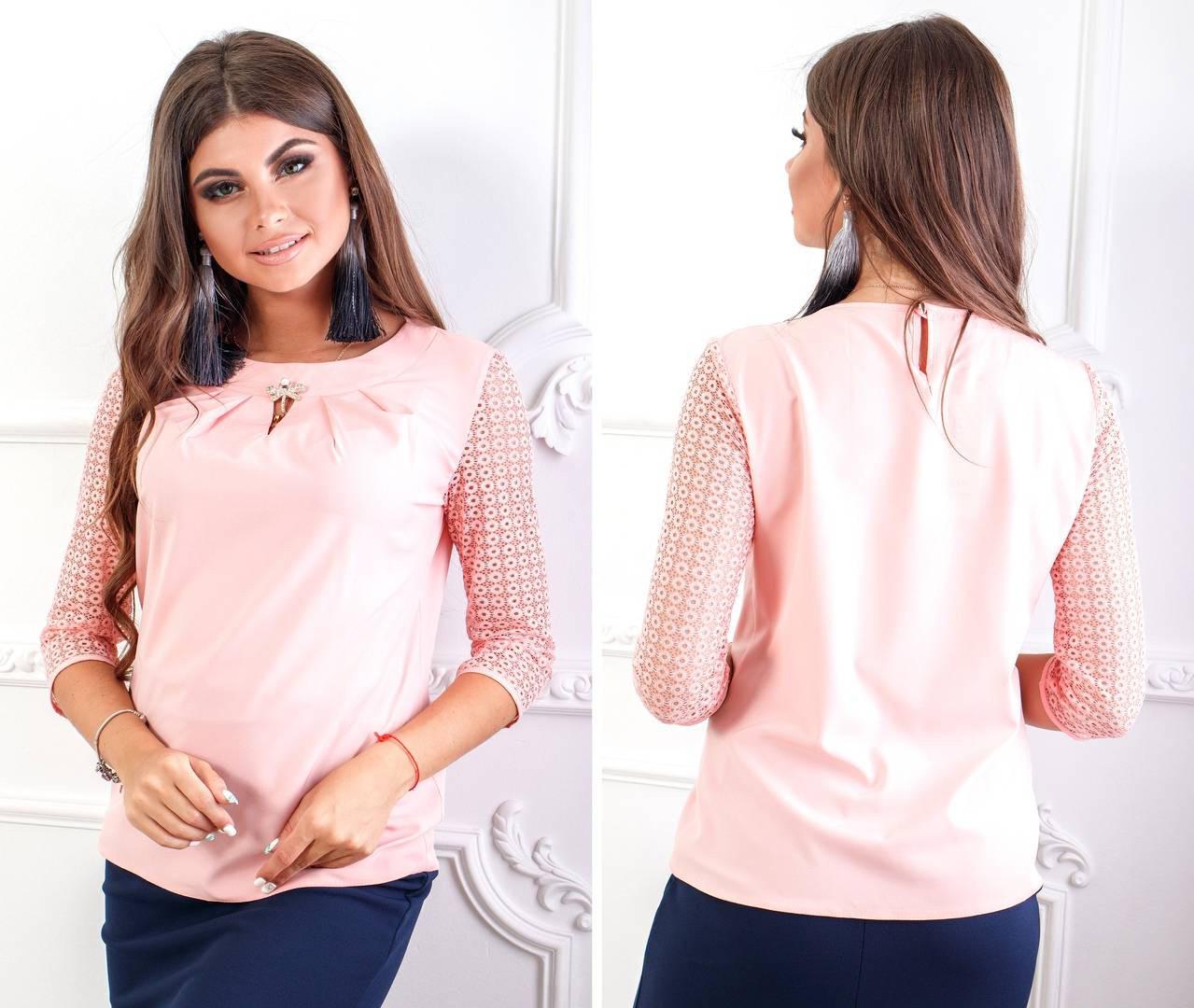 Блуза с кружевными рукавам и брошкой, бенгалин, новинка 2018, модель 122, цвет - персик