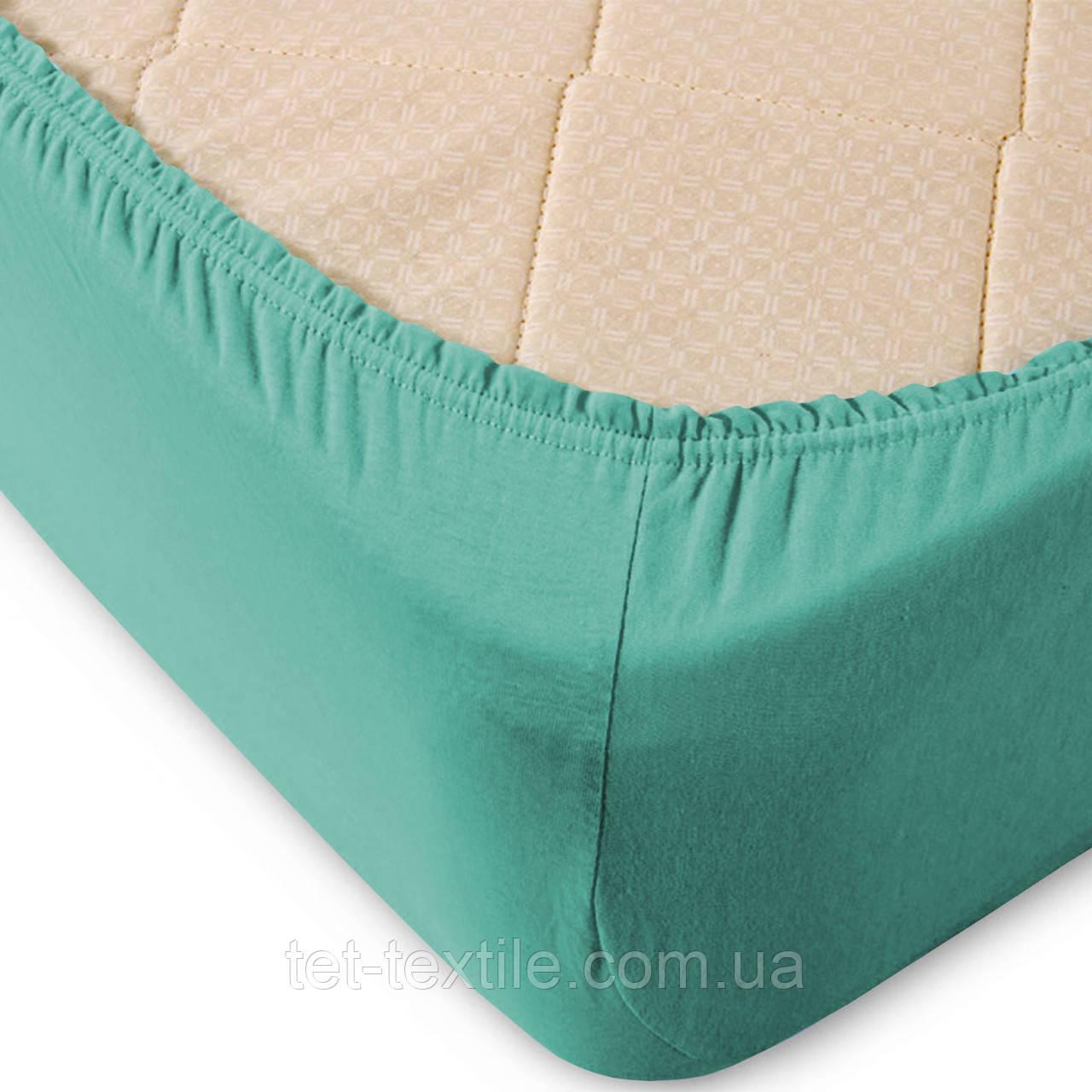 Простынь на резинке однотонная Тет-Текстиль голубая 160х200+20