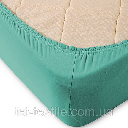 Простынь на резинке однотонная Тет-Текстиль голубая 180х200+20, фото 2