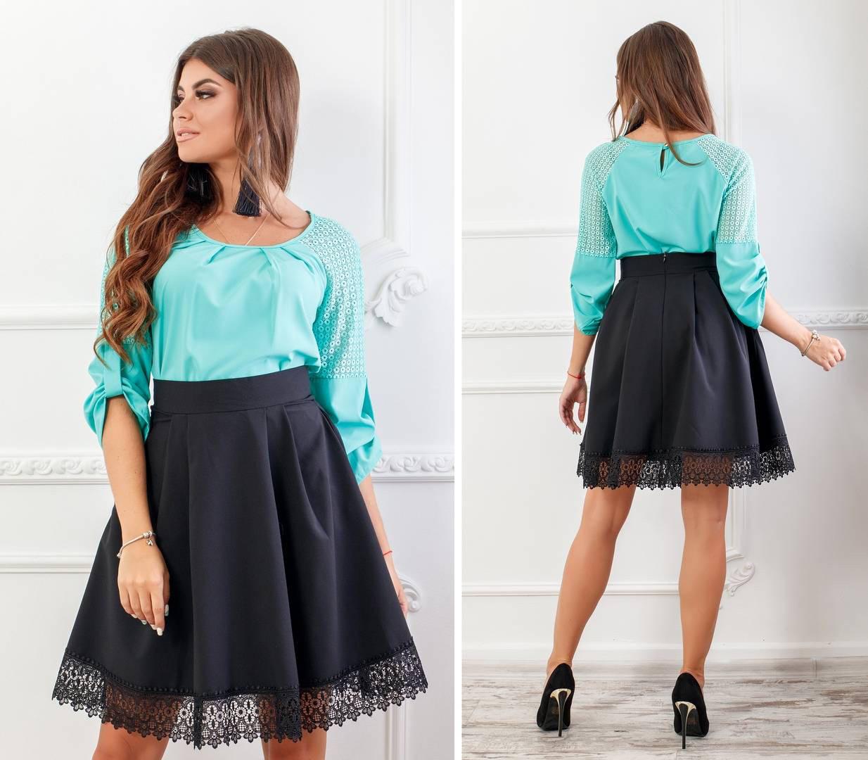 Блуза женская с кружевными вставками, бенгалин, новинка 2018, модель 117, цвет - бирюза