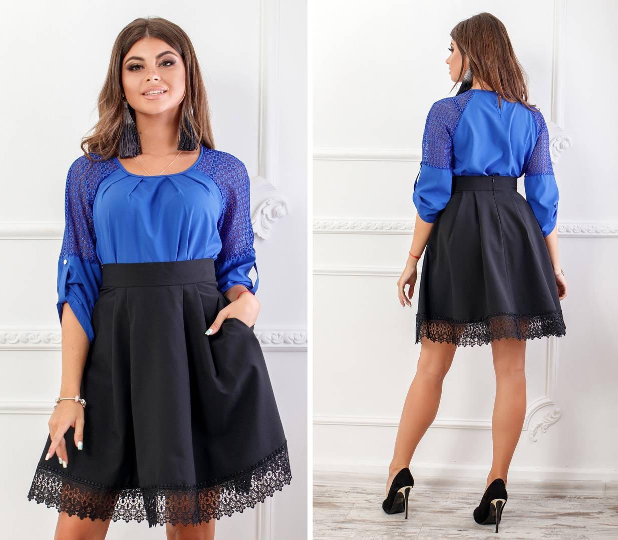 Блуза женская с кружевными вставками, бенгалин, модель 117, цвет - электрик