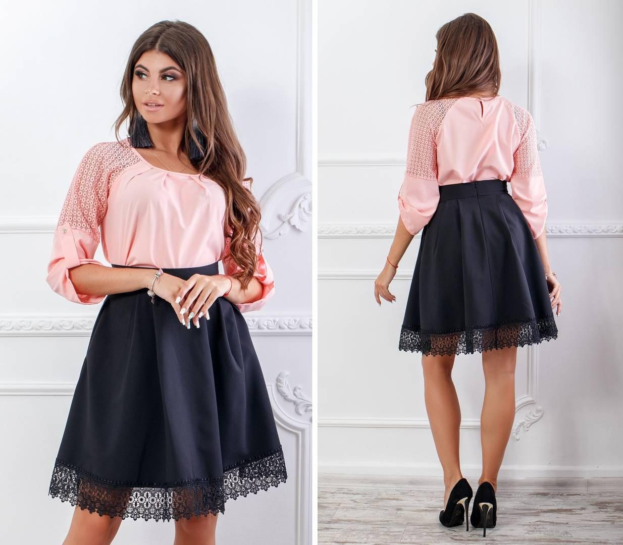 Блуза женская с кружевными вставками, бенгалин, модель 117, цвет - розовая пудра, 42 размер