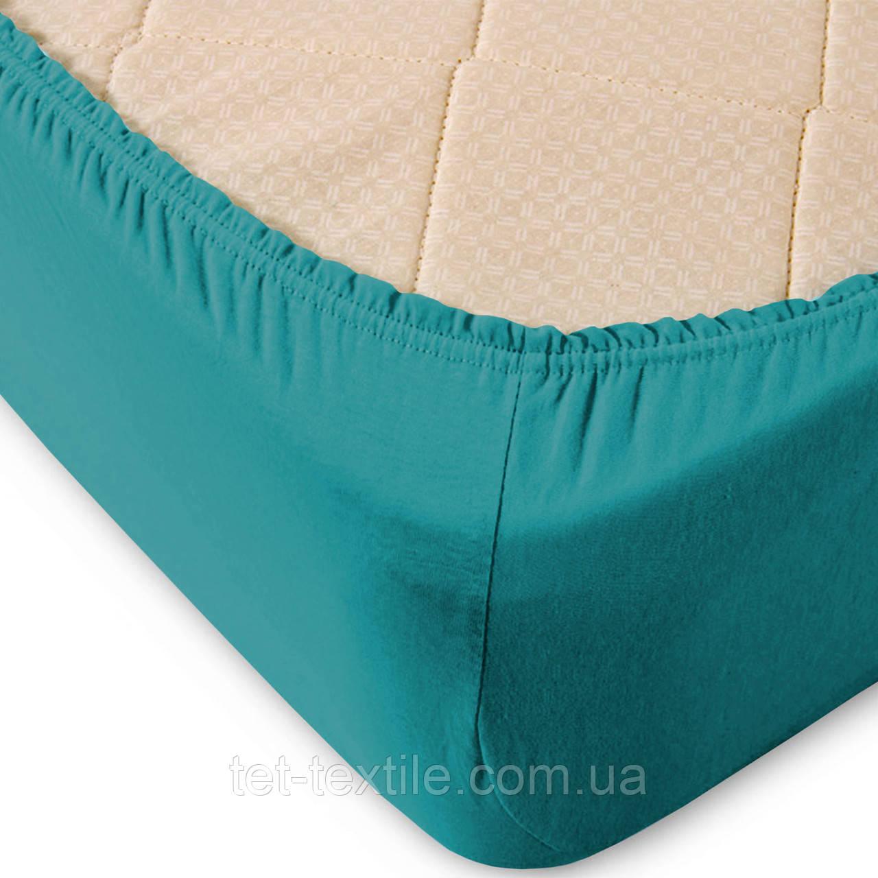 Простынь на резинке однотонная Тет-Текстиль бирюзовая 160х200+20