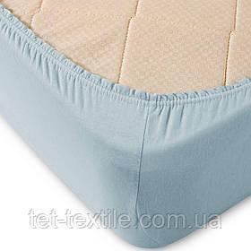 Простынь на резинке однотонная Тет-Текстиль бледно-голубая 160х200+20