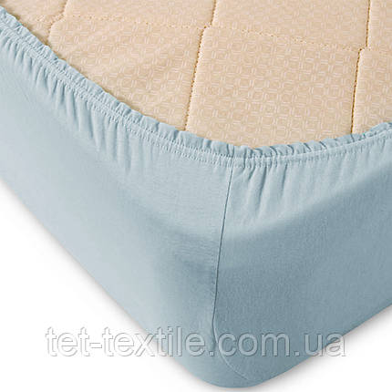 Простынь на резинке однотонная Тет-Текстиль бледно-голубая 160х200+20, фото 2