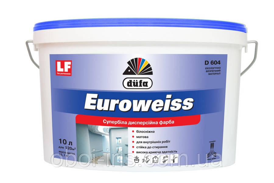D604 Euroweiss краска дисперсионная супербелая для внутренних работ Dufa